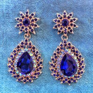 Cherryl's Jewelry - Dark Blue Austrian Crystal Chandelier Earrings